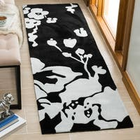 Safavieh Handmade Modern Art Midnight Black/ Ivory Polyester Rug - 2'6 x 12'