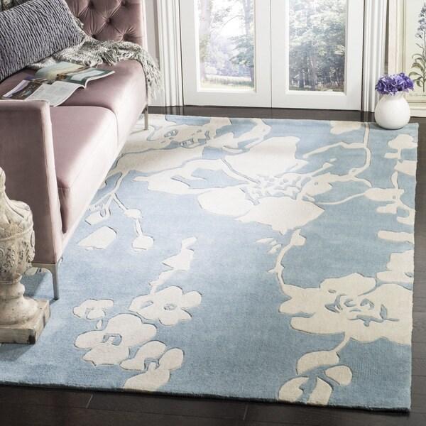 Safavieh Handmade Modern Art Summer Blue/ Ivory Polyester Rug - 9' x 12'