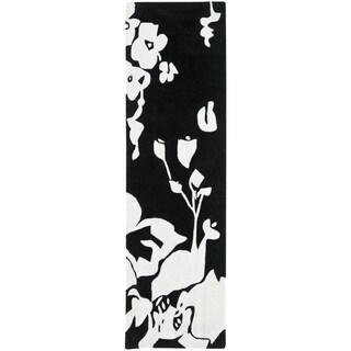 Safavieh Handmade Modern Art Midnight Black/ Ivory Polyester Rug (2'6 x 10')