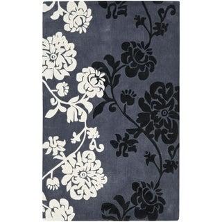 Safavieh Handmade Modern Art Floral Shadows Dark Grey/ Multi Polyester Rug (9' x 12')