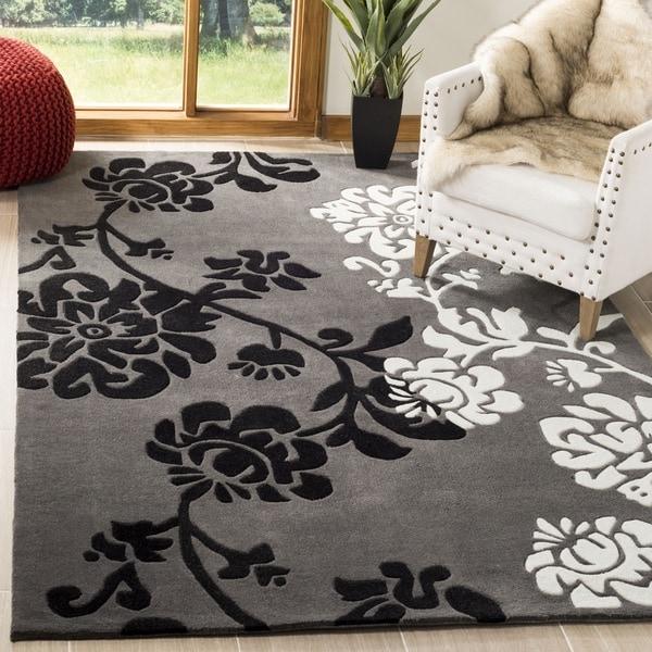 Safavieh Handmade Modern Art Floral Shadows Dark Grey/ Multi Polyester Rug - 9' x 12'