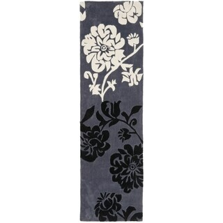 Safavieh Handmade Modern Art Floral Shadows Dark Grey/ Multi Polyester Rug (2'6 x 14')
