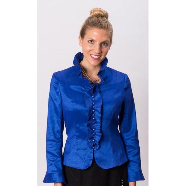 Grace Gallo New York Women's 'Anne' Blue Ruffle Collar Shirt
