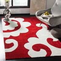 Safavieh Handmade Modern Art Scrolls Red/ Multicolored Polyester Rug - 5' x 8'