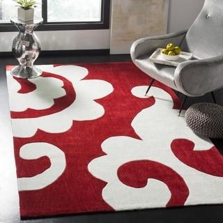 Safavieh Handmade Modern Art Scrolls Red/ Multicolored Polyester Rug (7' Square)