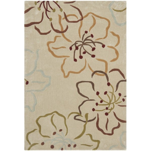 Safavieh Handmade Modern Art Floral Paradise Light Grey/ Multicolored Polyester Rug (4' x 6')