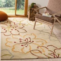 Safavieh Handmade Modern Art Floral Paradise Light Grey/ Multicolored Polyester Rug - 5' x 8'