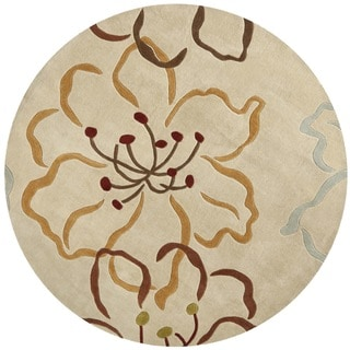 Safavieh Handmade Modern Art Floral Paradise Light Grey/ Multicolored Polyester Rug (6' 6 x 6' 6 Rou