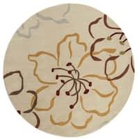 Safavieh Handmade Modern Art Floral Paradise Light Grey/ Multicolored Polyester Rug - 6' 6 round