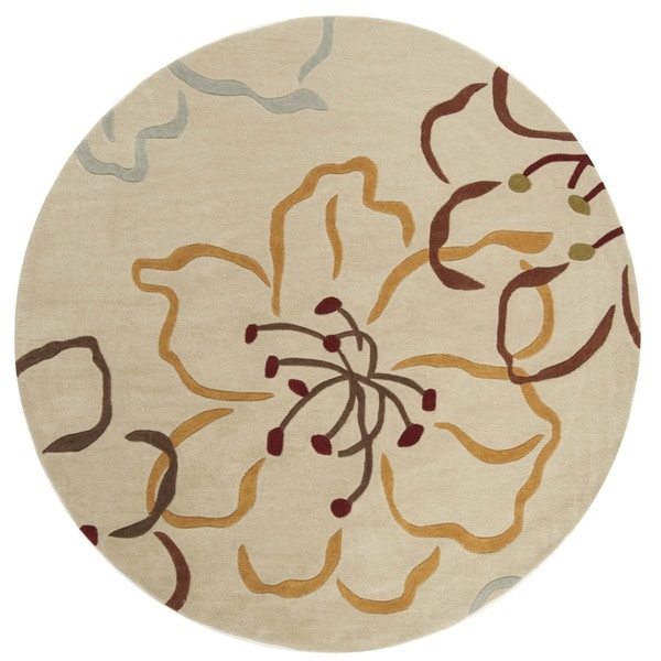 "Safavieh Handmade Modern Art Floral Paradise Light Grey/ Multicolored Polyester Rug - 6'6"" x 6'6"" round"