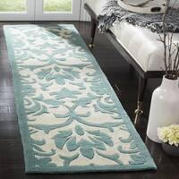 Safavieh Handmade Modern Art Floral Scrolls Ivory/ Light Blue Polyester Rug - 2'3 x 8'