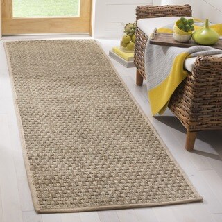 "Safavieh Casual Natural Fiber Natural and Beige Border Seagrass Runner (2' 6"" x 20')"