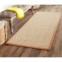 Safavieh Casual Natural Fiber Natural and Brown Border Seagrass Runner Rug - 2'6 x 22'