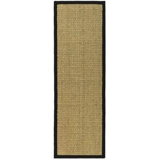 Safavieh Casual Natural Fiber Natural and Black Border Seagrass Rug (2' 6 x 18')