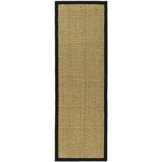 Safavieh Casual Natural Fiber Natural and Black Border Seagrass Runner (2' 6 x 20')