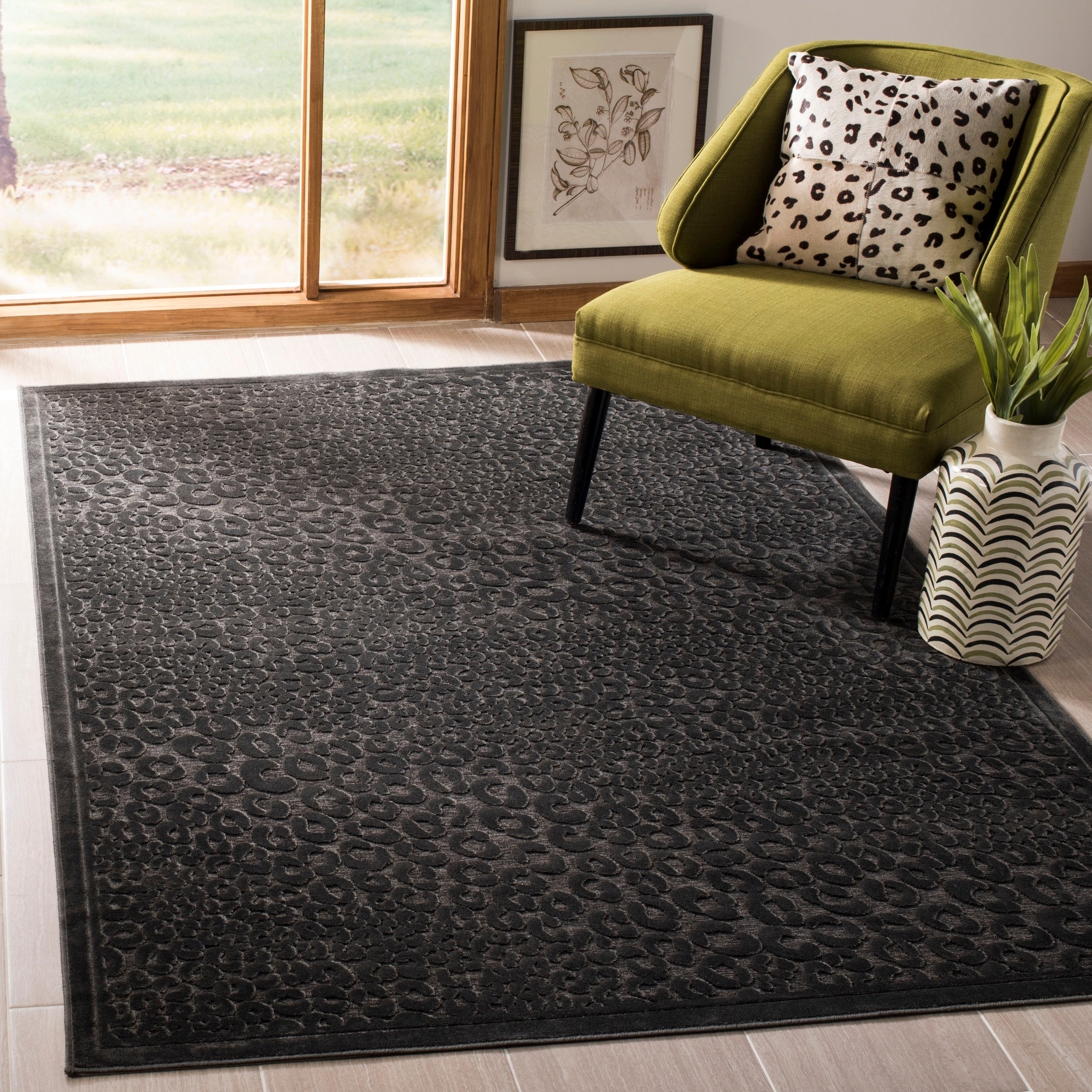 Safavieh Paradise Charcoal Grey Viscose Rug (5' 3 x 7' 6)...