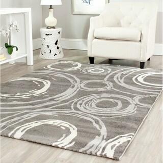 Safavieh Porcello Contemporary Circles Dark Grey/ Ivory Rug (6'7 x 9'6)