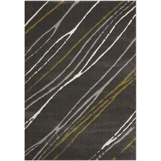 Safavieh Porcello Abstract Stripe Dark Grey/ Multi Rug (5'3 x 7'7)
