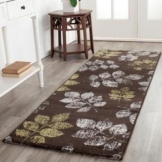 Safavieh Porcello Leaf Print Brown/ Green Rug (2'4 x 6'7)