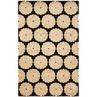 Safavieh Handmade Rodeo Drive Floral Black/ Ivory Wool Rug - 6' x 9'