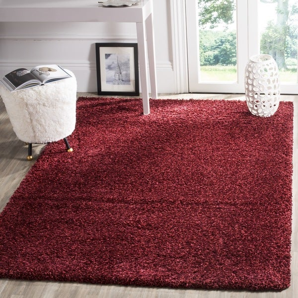 Safavieh California Cozy Plush Maroon Shag Rug (8' x 10')