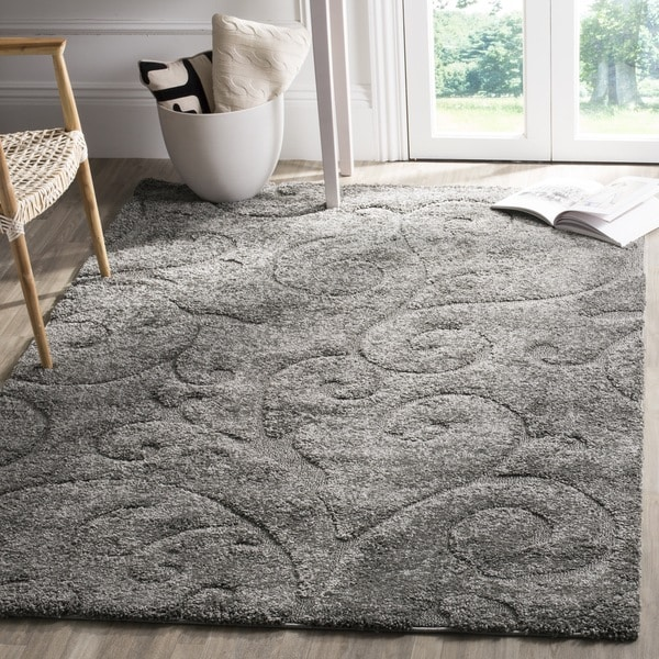 Safavieh Florida Shag Scrollwork Dark Grey Area Rug 9 6 X
