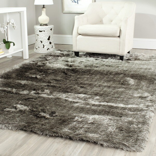 safavieh handmade silken glam paris shag silver rug 10u0026x27