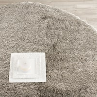 Safavieh Handmade Silken Glam Paris Shag Sable Brown Rug - 7' x 7' Round