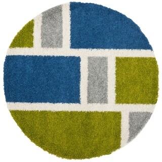 Safavieh Deco Shag Blue/ Green Squares Rug (5' Round)