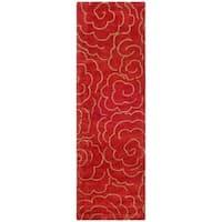 "Safavieh Handmade Soho Roses Red New Zealand Wool Rug - 2'6"" x 12'"