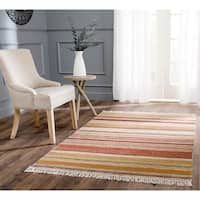 Safavieh Tapestry-woven Striped Kilim Village Beige Wool Rug - 3' x 5'
