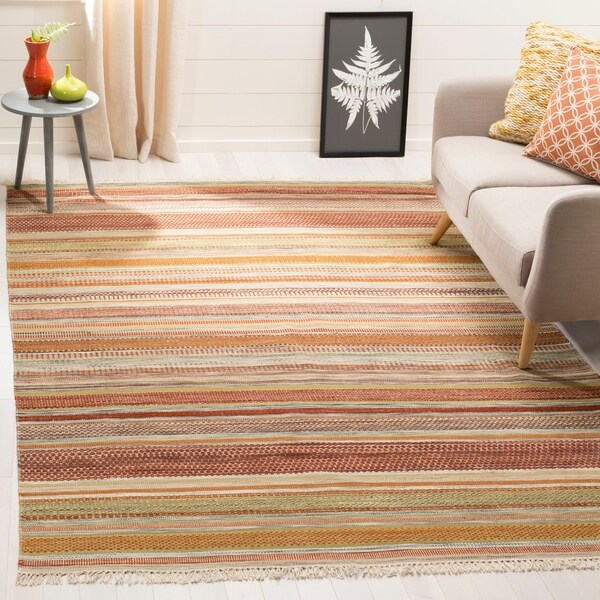 Safavieh Tapestry-woven Striped Kilim Village Beige Wool Rug - 8' x 10'