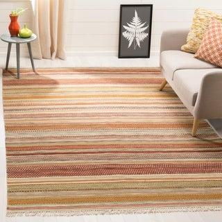 Safavieh Tapestry-woven Striped Kilim Village Beige Wool Rug (9' x 12')