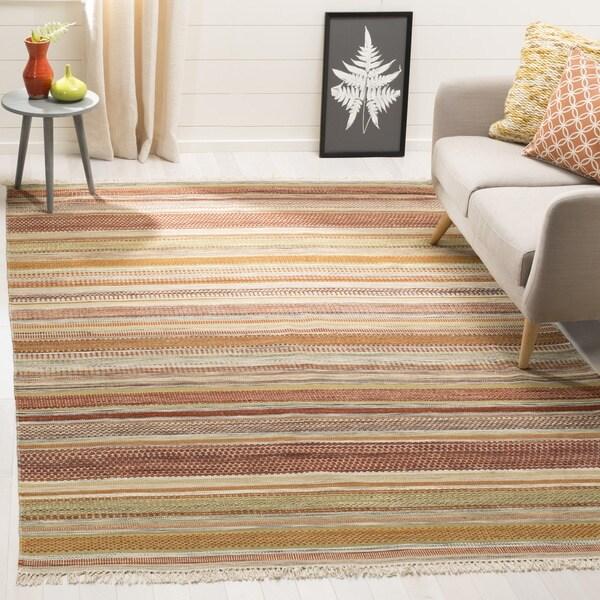 Safavieh Tapestry-woven Striped Kilim Village Beige Wool Rug - 9' x 12'