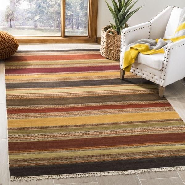Safavieh Tapestry-woven Striped Kilim Village Gold Wool Rug (8' x 10')