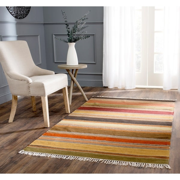 Safavieh Tapestry-woven Striped Kilim Village Gold Wool Rug - 8' x 10'