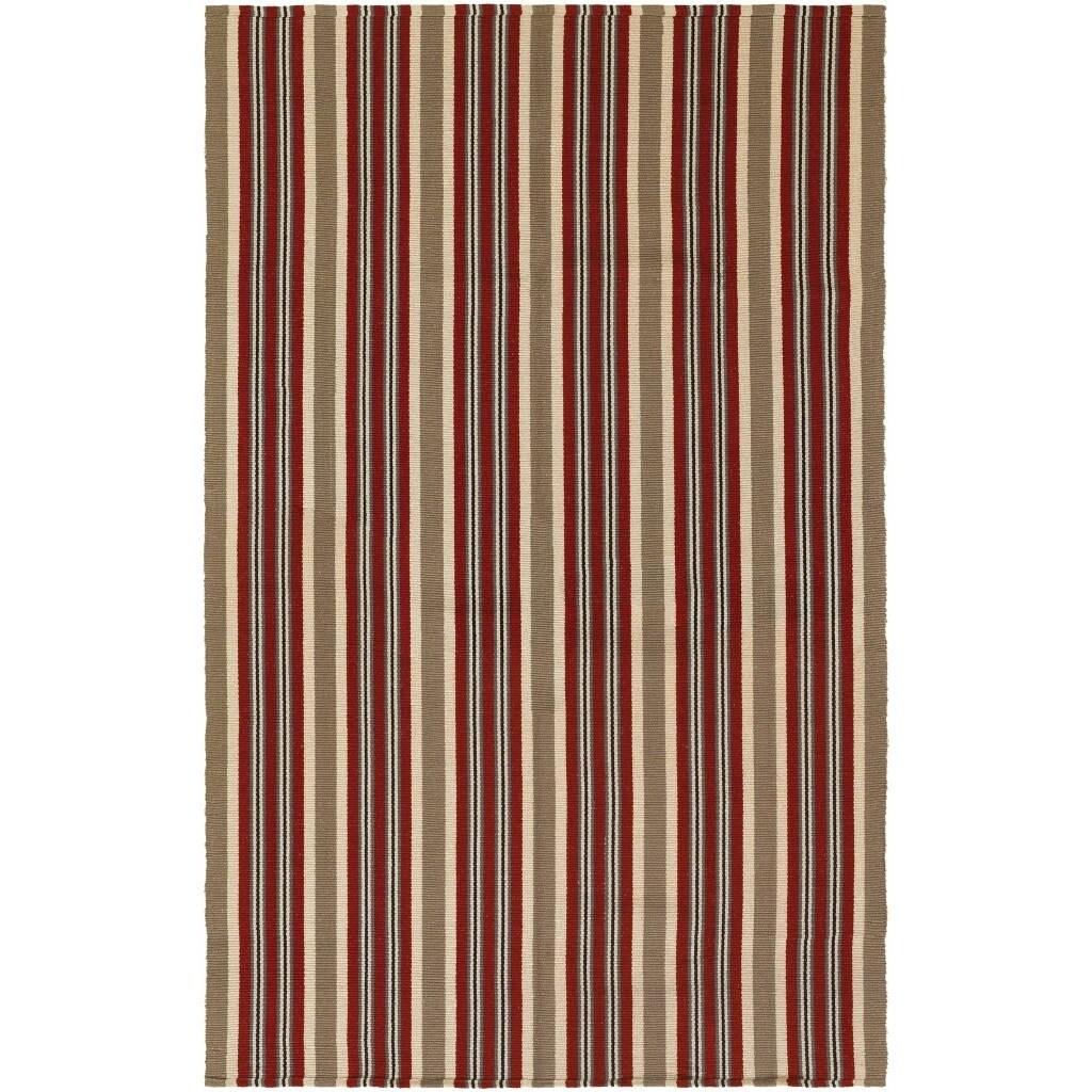 Maine Stay Striped Brick/Tan Area Rug - 3 x 5 (3 x 5 - Beige/Red/Tan)