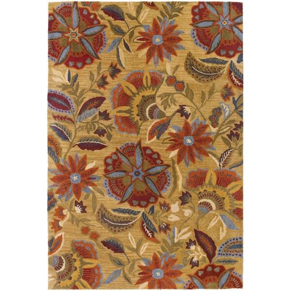 Botanique Layla/ Gold Wool Rug (3'6 x 5'6)