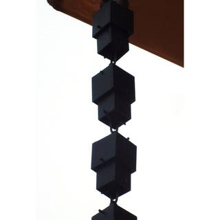 Monarch Alum Black Multi-Cube 8.5-Foot Rain Chain Inclusive of Installation Hanger|https://ak1.ostkcdn.com/images/products/7726281/7726281/Black-Aluminum-Flat-Multi-cube-8.5-foot-Rain-Chain-P15128165.jpg?impolicy=medium