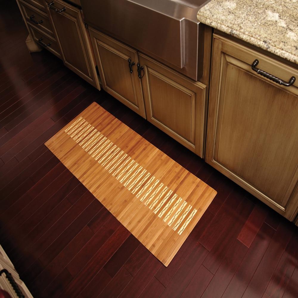 "High Quality 24/"" X 48/""  Natural Brown Slats Bamboo Carpet Rug Floor Mat NEW"