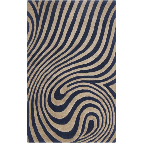Hand-tufted Chaska Dark Blue Abstract Design Wool Rug-(8' x 10')