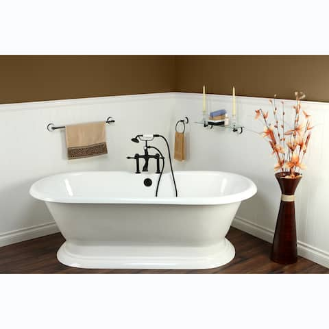 Double-ended Cast Iron 72-inch Pedestal Bathtub with 7-inch Drillings