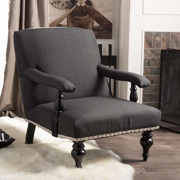 Baxton Studio Galway Gray Linen Arm Chair