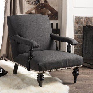 Baxton Studio Galway Gray Linen Arm Chair