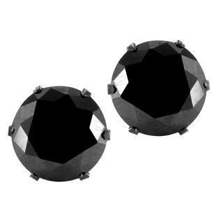 Black Plated Stainless Steel Black Cubic Zirconia Earrings