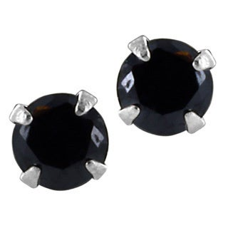 Round Multi Faceted Colored Cubic Zirconia Sterling Silver Earrings