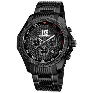 Joshua & Sons Men's Large Dial Quartz Chronograph Black Bracelet Watch