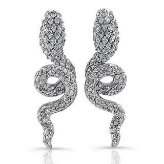 Silver 1/5ct TDW Diamond and Orange Sapphire Snake Earrings (J-K, I2-I3)