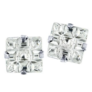 Stainless Steel Cubic Zirconia Square Grid Earrings - White
