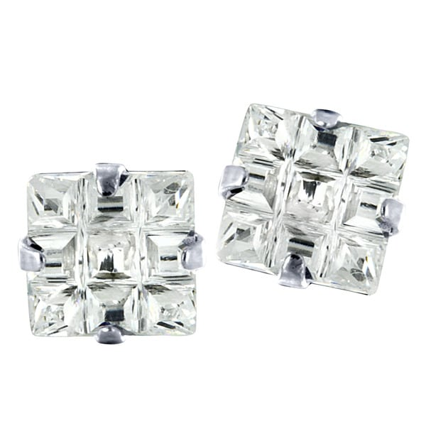 Stainless Steel Cubic Zirconia Square Grid Earrings